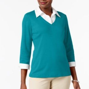 !!~ Turquoise COTTON Layered-Look Work Top ~!!